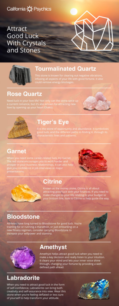 Attract Good Luck with Crystals and Stones - Infographic | California Psychics