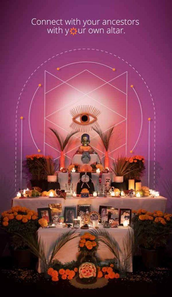 a Dia de los Muertos altar made up of seven levels