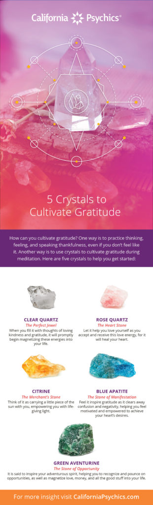 5 Crystals to Cultivate Gratitude infographic | California Psychics
