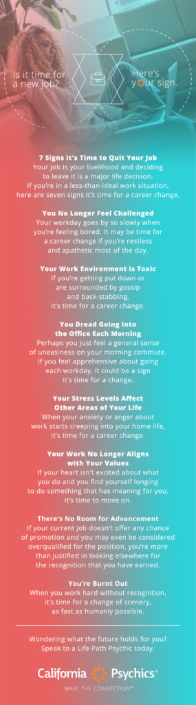 Signs it's Time for a New Job infographic | California Psychics